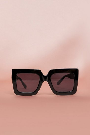 Black Square Oversized Frame Sunglasses