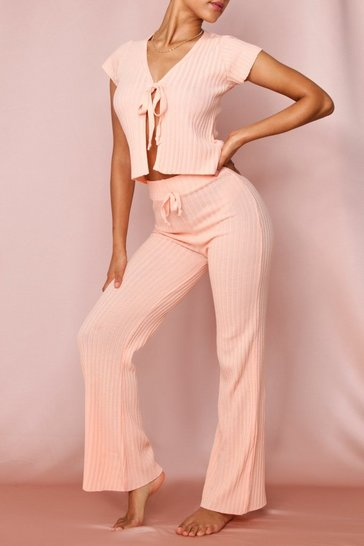 Peach Ribbed Knit Wide Leg Trouser