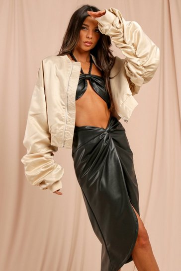 Stone Satin Oversized Ruched Sleeve Bomber Jacket