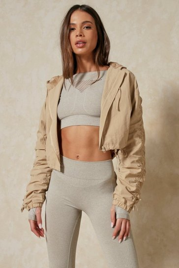 Camel Ruched Sleeve Hooded Cropped Jacket