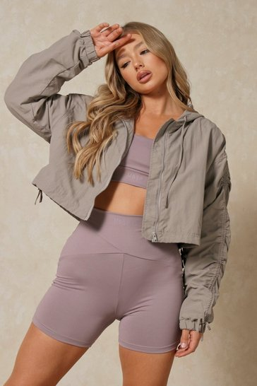 Grey Ruched Sleeve Hooded Cropped Jacket