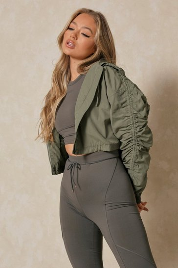 Khaki Ruched Sleeve Hooded Cropped Jacket
