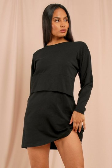 Black Long Sleeve Crew Neck Oversized T-Shirt Dress
