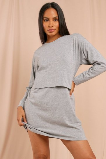 Grey marl Long Sleeve Crew Neck Oversized T-Shirt Dress