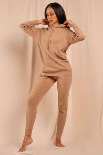 Camel Seam Detail Hoodie Knit Co-Ord