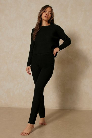 Black Boxy Rib Knit Co-Ord