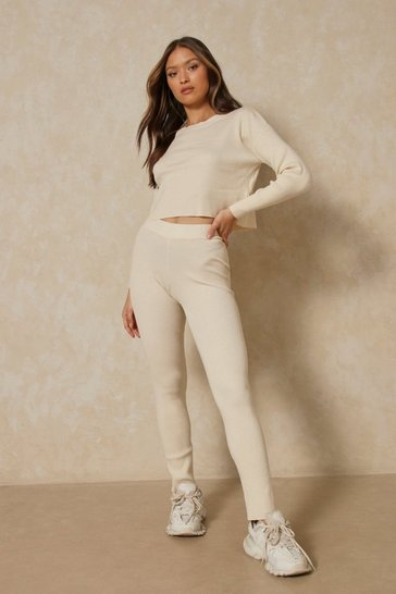 Ivory Boxy Rib Knit Co-Ord