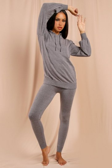 Grey Hoodie Knitted Co-Ord