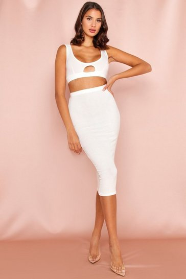 Cream Ribbed Midi Skirt