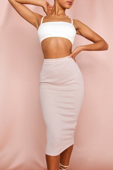 Stone Ribbed Midi Skirt