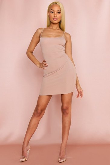 Camel Ribbed Strappy Cami Dress