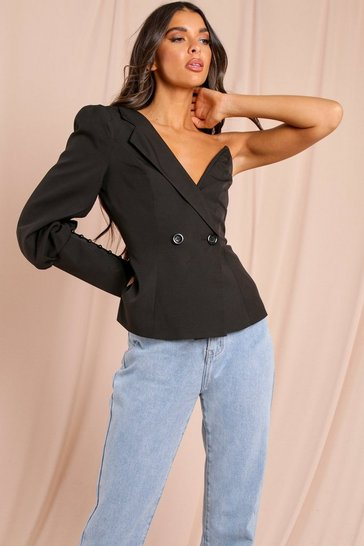 Black One Shoulder Plunge Blazer