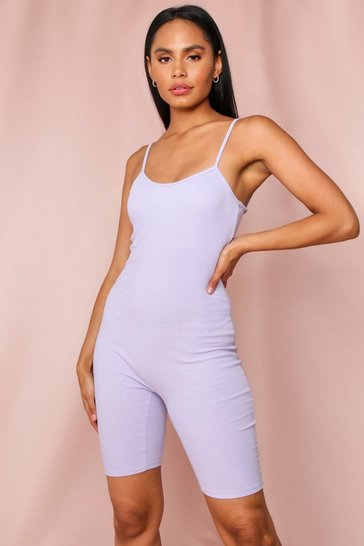 Lilac Ribbed Strappy Unitard