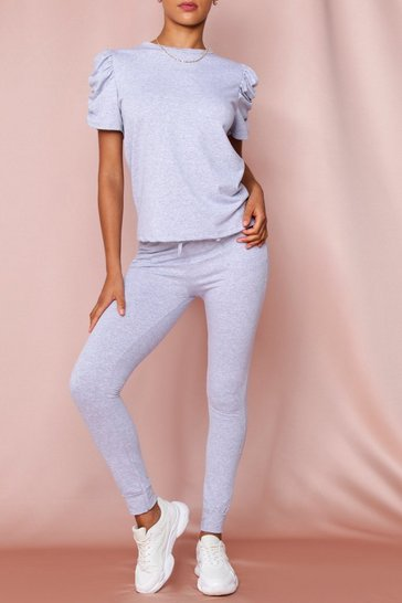 Grey Knitted Puff Sleeved Lounge Set