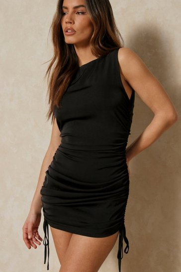 Black Satin Racer Neck Ruched Mini Dress