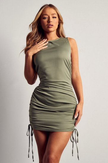 Sage Racer Neck Ruched Mini Dress