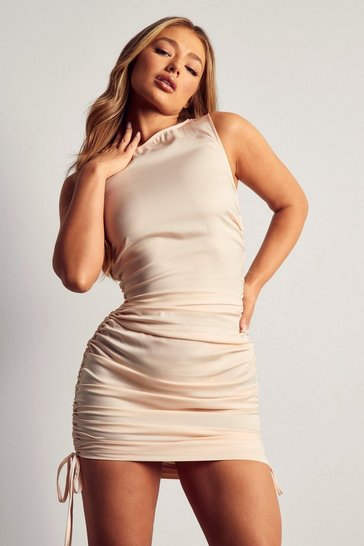 Stone Racer Neck Ruched Mini Dress