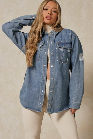 Mid blue Denim Belted Stud Detail Jacket
