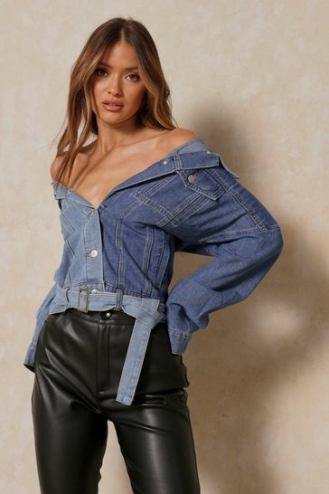 Light blue Denim Contrast Off Shoulder Jacket