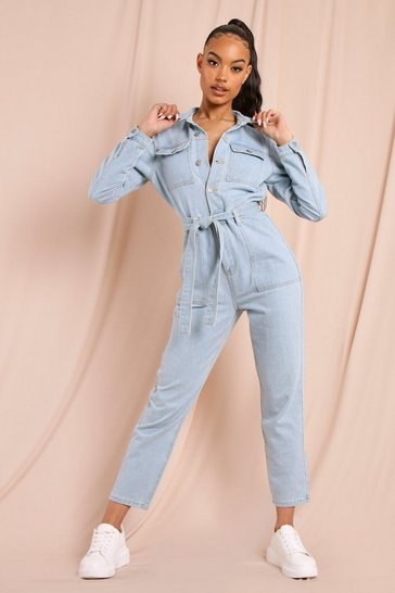Light blue Denim Pocket Belted Roll Hem Boilersuit