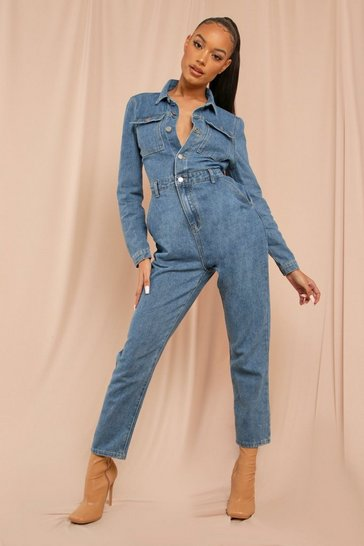 Blue Denim Volume Sleeve Jumpsuit