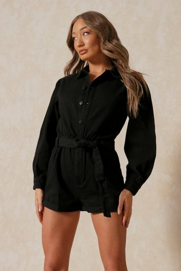 Black Denim Volume Sleeve Playsuit