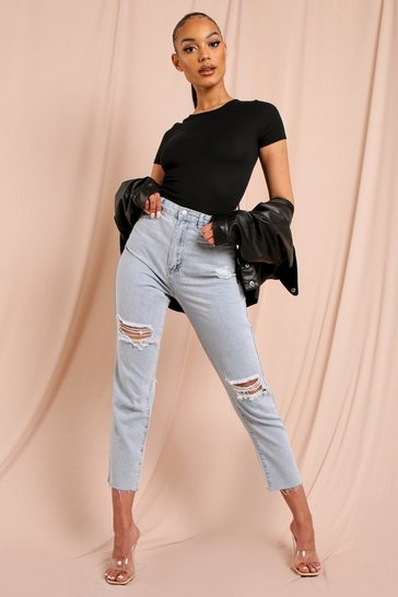 Mid blue Knee Rip Distressed Straight Leg Jean