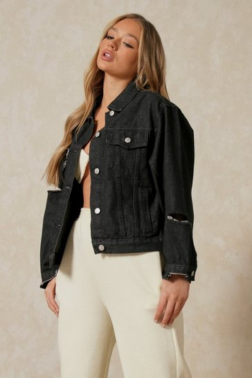 Black Ripped Detail Denim Jacket