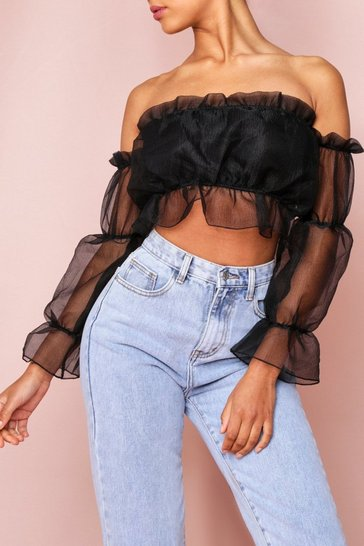 Black Organza Off The Shoulder Crop Top