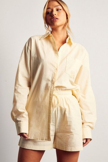 Cream Oversized Linen Shirt