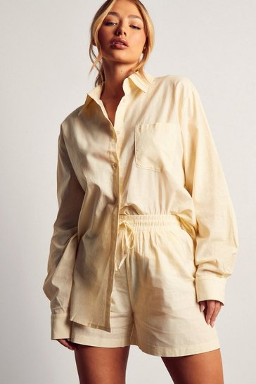 Cream Floaty Linen Shorts