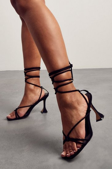 Black Strappy Lace Up Square Toe Heels