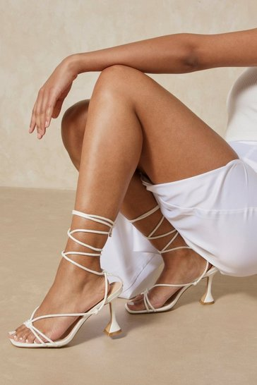 White Strappy Lace Up Square Toe Heels