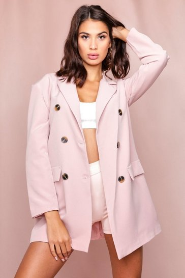 Nude Oversized Boyfriend Fit Double Breasted Blazer