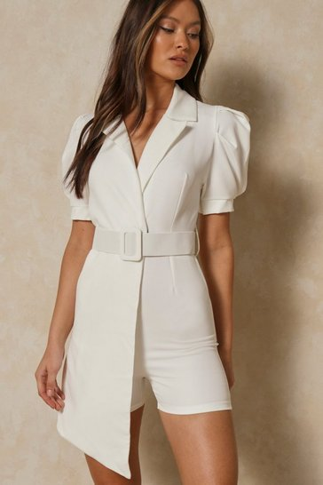 White Puff Shoulder Belted Wrap Playsuit