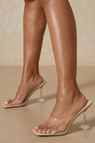 Nude Clear Square Toe Mules