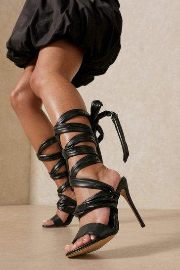 Black Leather Look Lace Up High Heels