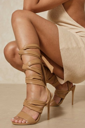 Camel Leather Look Lace Up High Heels