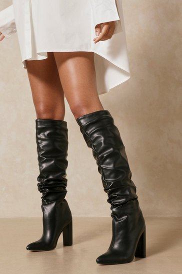 Black Leather Look Pointed Heeled Boot