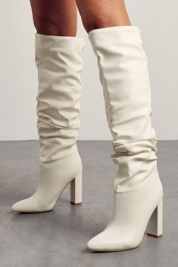 White Faux Leather Pointed Heeled Boot