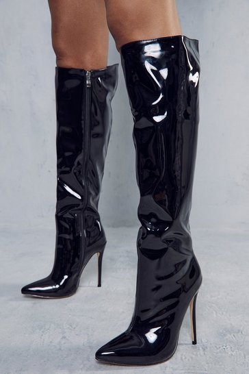 Black Patent Over The Knee Pointed Heeled Boot
