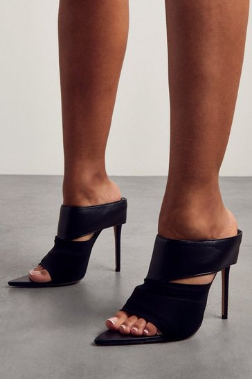 Black High Heel Pointed Mules