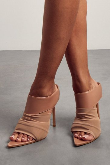 Nude High Heel Pointed Mules