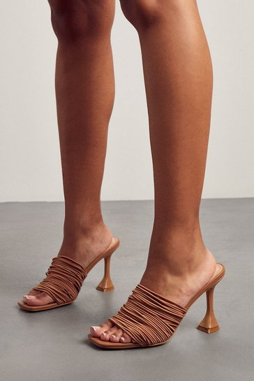 Nude Strappy Cake Stand Heel Mules