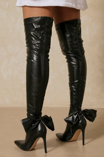 Black Leather Look Bow Detail Thigh High boots