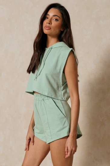Mint Padded Hooded T Shirt & Short Set