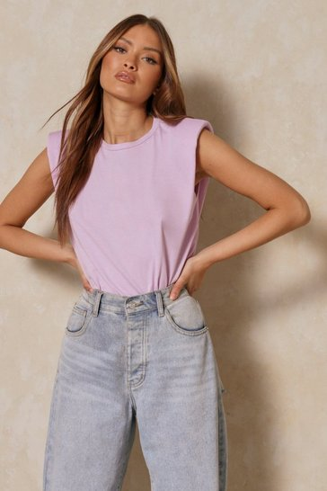 Lilac Plain Shoulder Pad T-Shirt