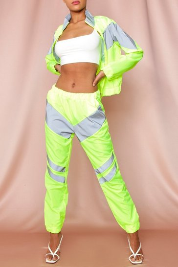 Green Sport Stripe Jogger And Jacket Set
