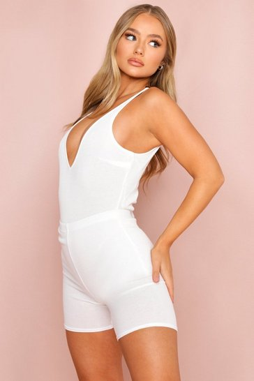 White Rib Knit Plunge Bodysuit