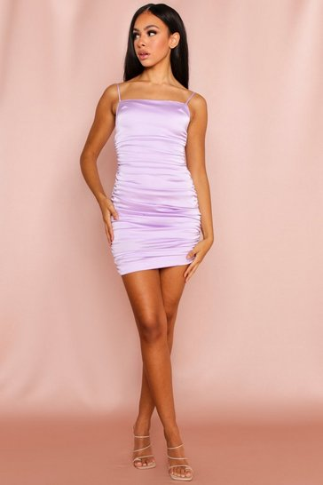 Lilac Satin Ruched All Over Mini Dress
